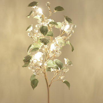 EVE FLORAL GLASS FLOWER PETALS WITH CRYSTALS (FLOOR/ TABLE LAMPS)