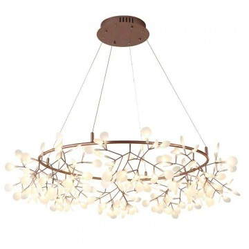 AGNI ROSE GOLD FIREFLY LED LEAVES & ROUND BRANCH METAL FRAME CHANDELIER