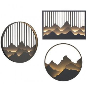 BAILEY ORIENTAL JAPANESE INSPIRED STAINLESS STEEL DECORATIVE MOUNTAIN IP54 OUTDOOR WALL LIGHT (ROUND/ RECTANGULAR)