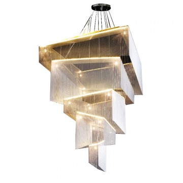 BRAXTON CACASDING 5-TIER STAINLESS STEEL LINKS MODERN LED CHANDELIER (GOLD/ SILVER/ COPPER)