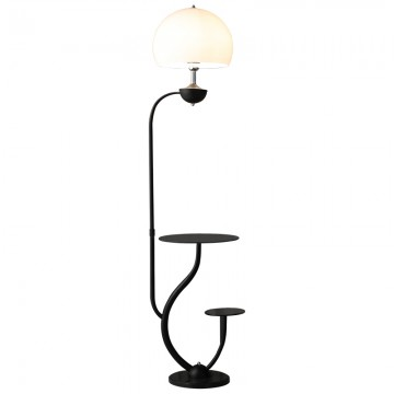 CINNA GLASS SHADE WITH STANDING TABLE MARBLE FLOOR LAMP (BLACK/ WHITE)