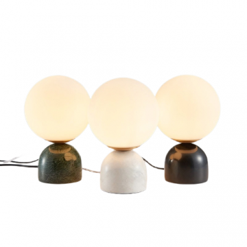 DEMI ADROABLE CLASSIC MARBLE BASE FROSTED GLASS GLOBE TABLE LAMP (BLACK/ WHITE/ GREEN)