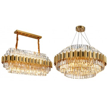 GABRIELLA FRENCH COLONIAL LUXE LIVING HANGING GOLD CRYSTAL CHANDELIER (ROUND/ RECTANGULAR)