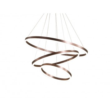 AVA HAIRLINE ALUMINIUM LUXE HIGH CEILING RING CHANDELIER (GOLD/ DARK COFFEE)