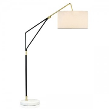 CECILIA WIDE FABRIC LAMPSHADE & WHITE MARBLE BASE FLOOR LAMP