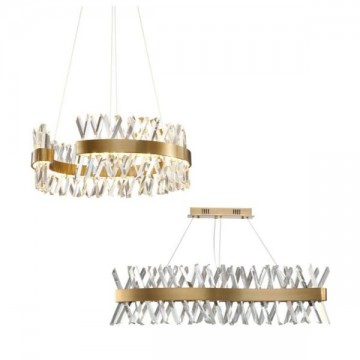 CETUS LUXE HAIRLINE GOLD CRYSTAL CROSS RODS CHANDELIER (ROUND/ RECTANGULAR)