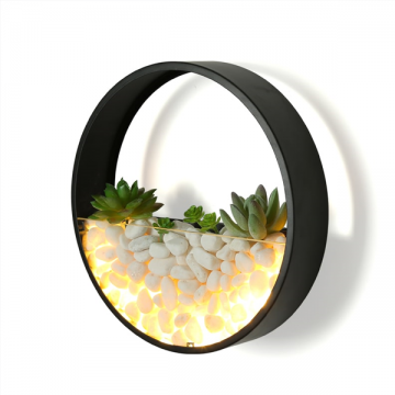 BAYEUX CREATIVE GREENERY WITH WHITE PEBBLES WALL LAMP
