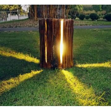 DALLAS TREE BARK NATURE-INSPIRED OUTDOOR RESIN IP54 STANDING GARDEN BOLLARD
