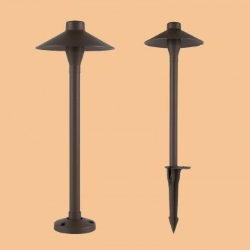 FRANCIS VINTAGE DIE-CAST ALUMINIUM IP65 WALNUT GRAIN OUTDOOR POST LAMP (SPIKE/ BOLLARD)