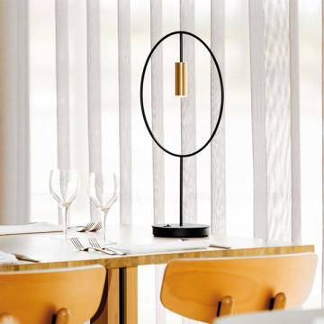 REGAL MODERN ROUND BLACK & GOLD MINI DOWNTHROW SPOTLIGHT TABLE LAMP