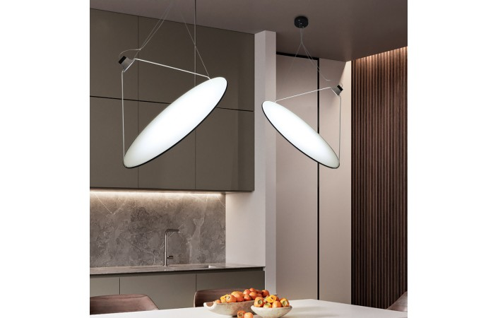 Sydell Designer Inspired Suspended Diffused Lamp Acrylic Shade Chrome Mirror
