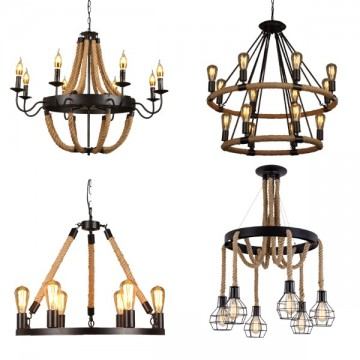 CANOPY FRENCH COUNTY INDUSTRIAL ROPE LIGHTING CHANDELIER