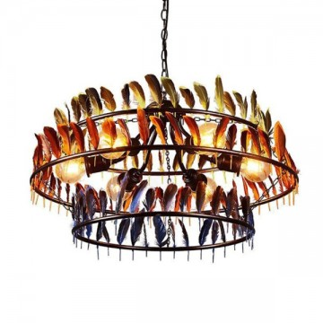 EDISON COLOURED FEATHERS VINTAGE INDUSTRIAL CHANDELIER