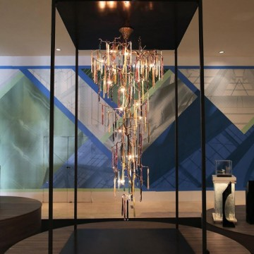 GLAMOUR BESPOKE ARCHITECTURAL MULTI-STOREY GLASS CHANDELIER