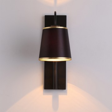 ADELE CONTEMPORARY LAMPSHADE WALL LIGHT WITH GOLD TRIMMING (BLACK/ WHITE)